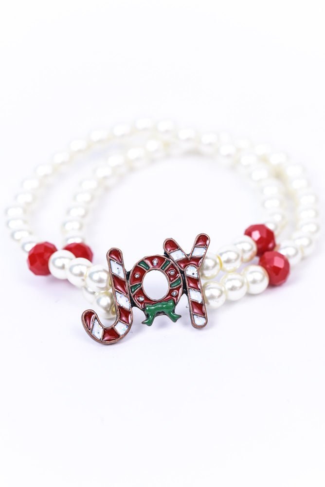 'Joy' Pearl/Candy Cane Stretch Bracelet - BRC2868PR