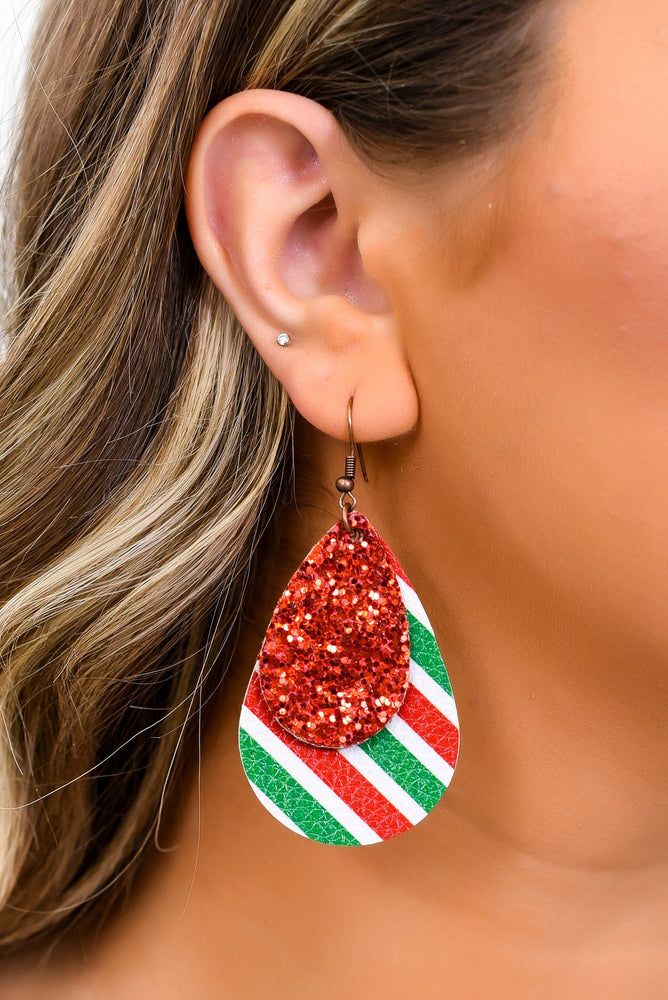 Red Striped/Glitter Layered Teardrop Earrings - EAR3088RD