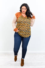 A Fool For You Mustard/Rust Leopard V Neck Top - B9708MS