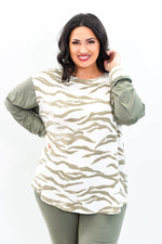 Committed To Chill Ivory/Olive Tiger Striped Top - B9710OL