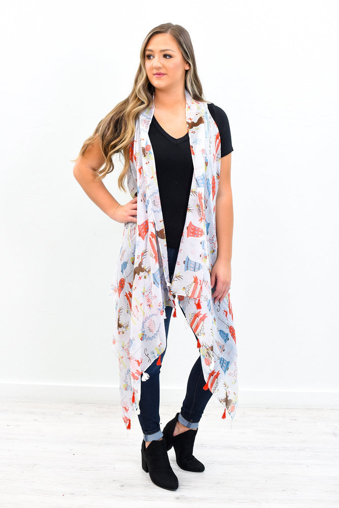 Christmas Magic In The Air White Christmas Printed Sheer Kimono (One Size 4-14) - O2781WH
