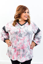 Just A Little Bit Of Love Pink/Multi Color Tie Dye V Neck Top - B9757PK