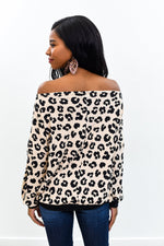You Caught My Eye Taupe/Black Leopard Off The Shoulder Top - B9746TA