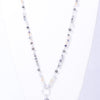 Gray/Silver Crystal Beaded/Stone Pendant Necklace - NEK3593GR