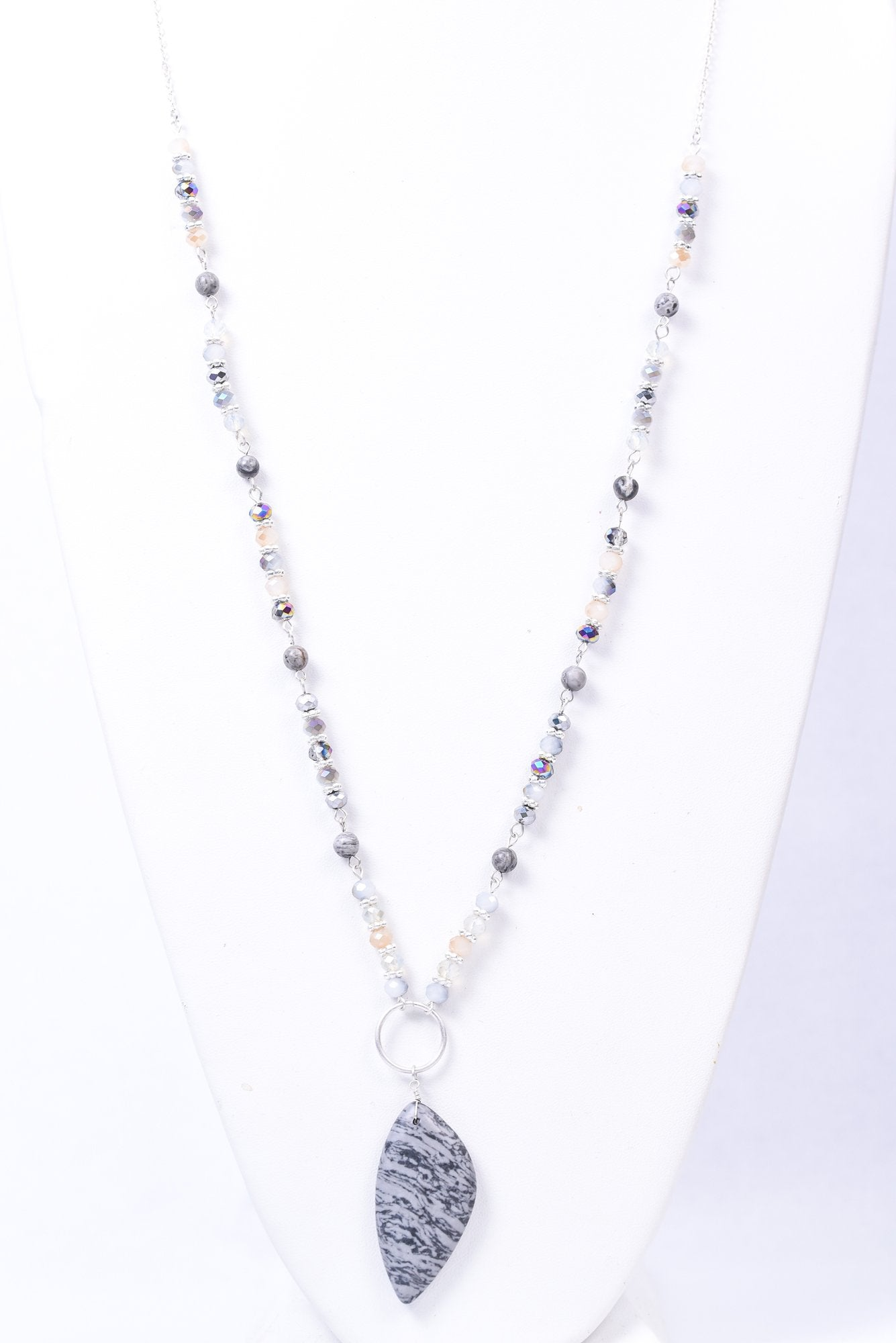 Gray Stone and Silver Bead Pendant Necklace