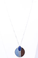 Blue/Wood/Rattan Circle Pendant Necklace - NEK3594BL