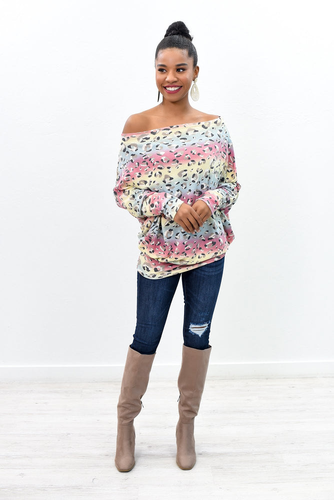 All Together Meow Multi Color Leopard Off The Shoulder Top - B9855MU
