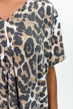 Let's Go Fishing Leopard V Neck Top - B9864BR
