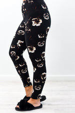 Black/Brown Floral Printed Leggings (Sizes 4-12) - LEG2774BK