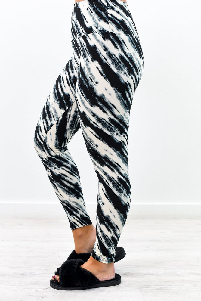 Black/Ivory Tie Dye Wide Band Leggings (Size 4-12) - LEG2772BK