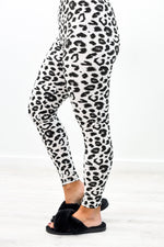 White/Black Leopard Printed Leggings (Size 4-12)- LEG2748WH