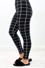 Black/Ivory Grid Printed Leggings (Sizes 4-12) - LEG2745BK