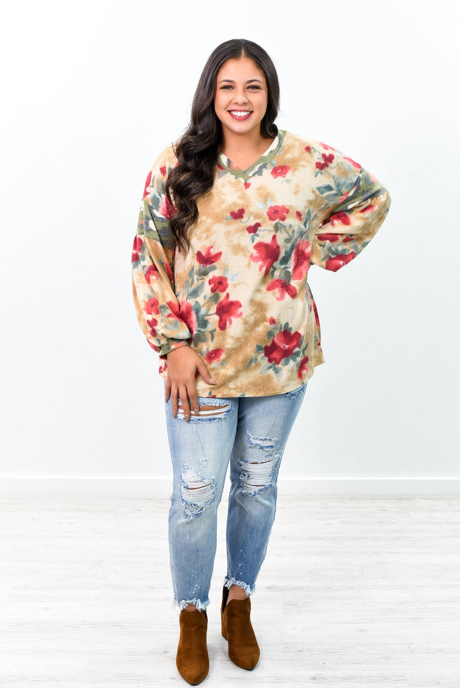She's A Perfect View Taupe/Multi Color Floral V Neck Top - B9933TA