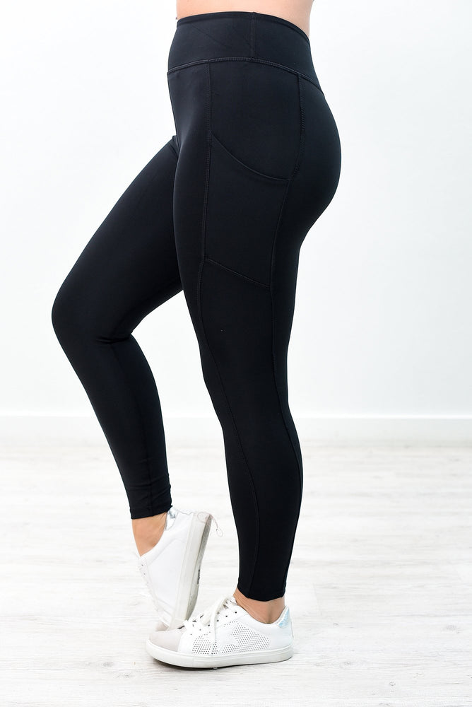 Black Wide Band Compression Leggings - LEG2781BK