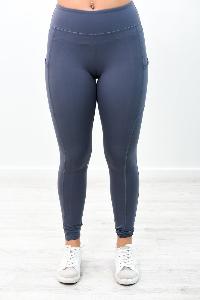 Charcoal Gray Wide Band Compression Leggings - LEG2783CG