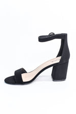 She's The One In Charge Black Suede Heels - SHO1909BK