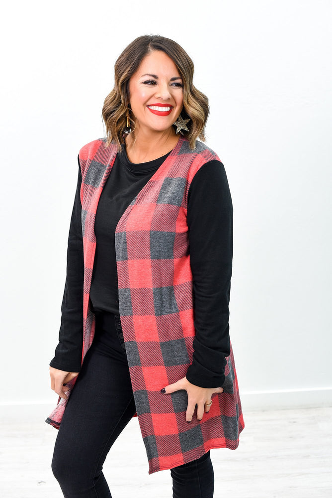 Campfire Cozies Red/Charcoal Gray Checkered Cardigan - O2859RD