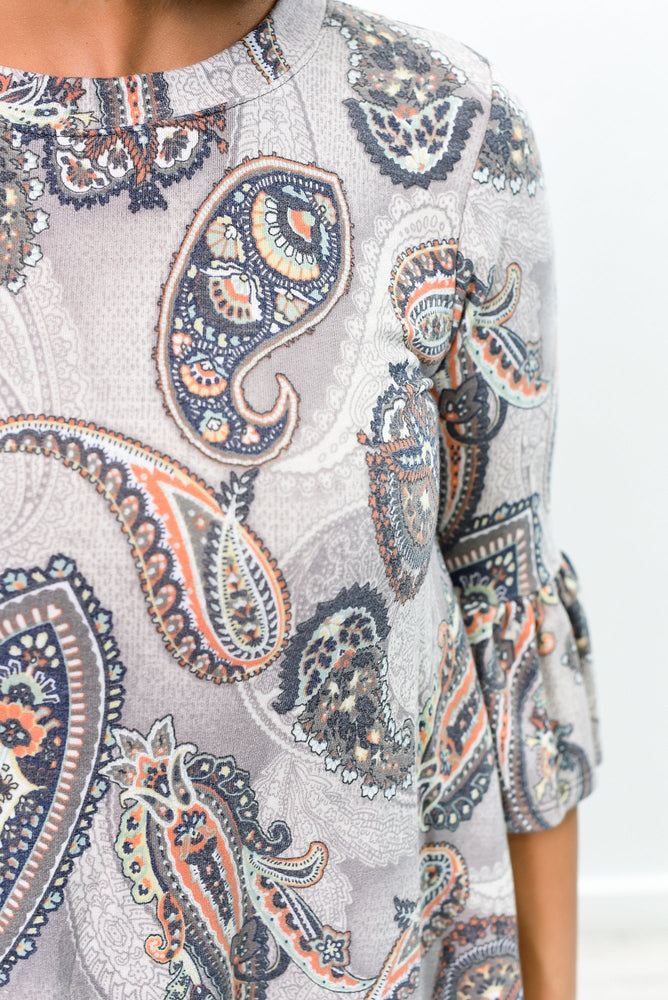 Only When It Rains Gray/Multi Color Paisley High-Low Top - B10043GR