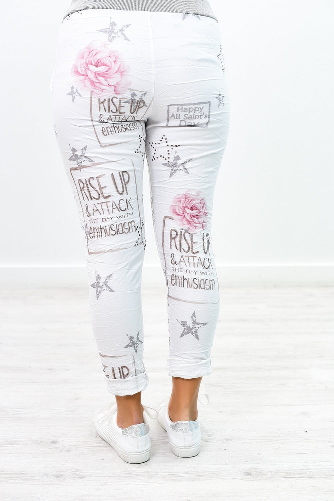 Rise Up & Attack The Day Ivory Printed Crinkle Joggers - PNT1142IV