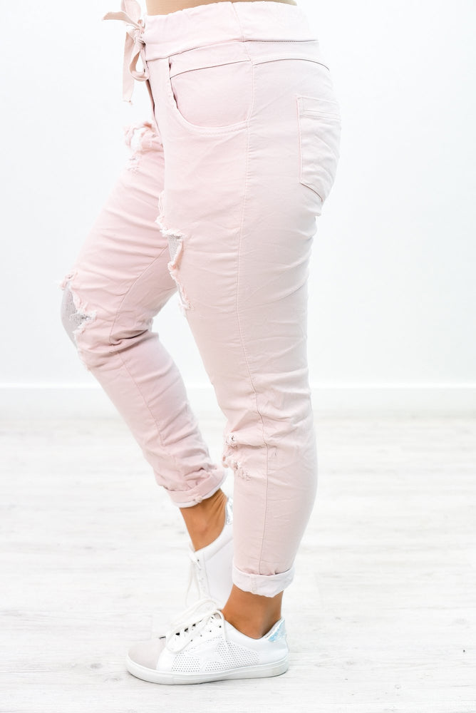 Bringing You Joy Blush Sequins Star Distressed Pants - PNT1148BS