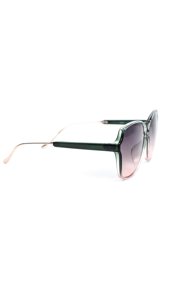 Green/Light Pink Frame/Pink Ombre Lens Sunglasses - SGL262GN - FREE hard case