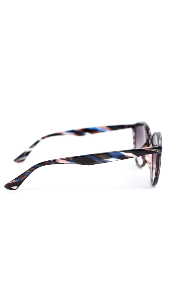 Blue Striped Frame/Black Lens Sunglasses - SGL241BL - FREE hard case