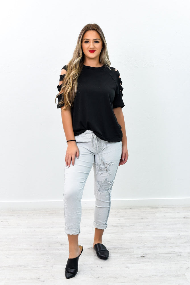 I Wish I Could See You Light Grey Star Printed Pants - PNT1160LGR