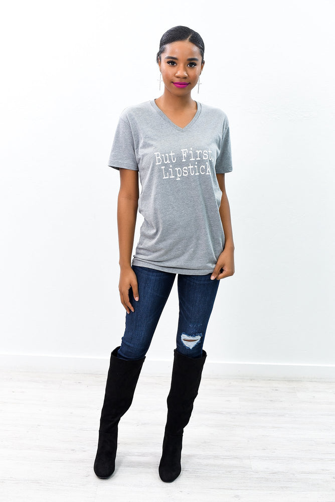 But First Lipstick Athletic Heather Gray V Neck Graphic Tee - A949DHG