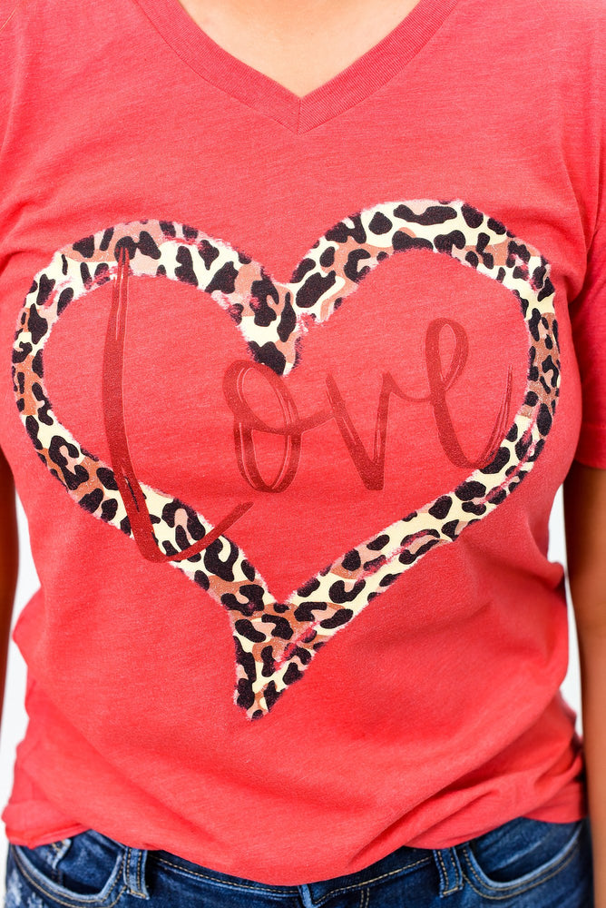 Love Leopard Heart Red Tri-Blend Graphic Tee - A974RD
