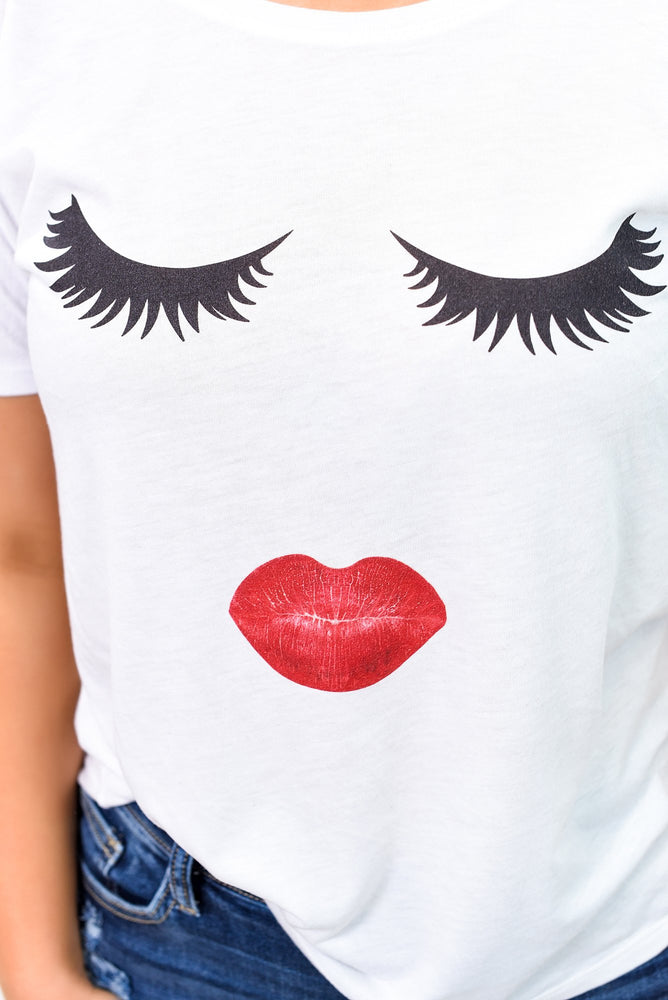 Looking In The Right Direction White Lashes/Lip Printed Graphic Tee - A971WH