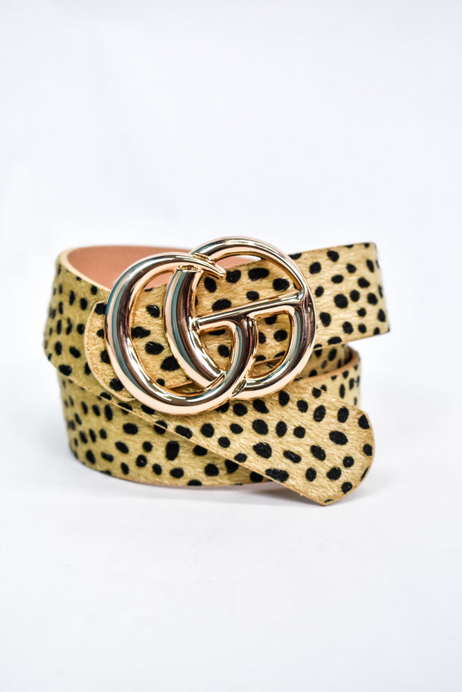 Beige/Gold Cheetah Belt - BLT1132BG