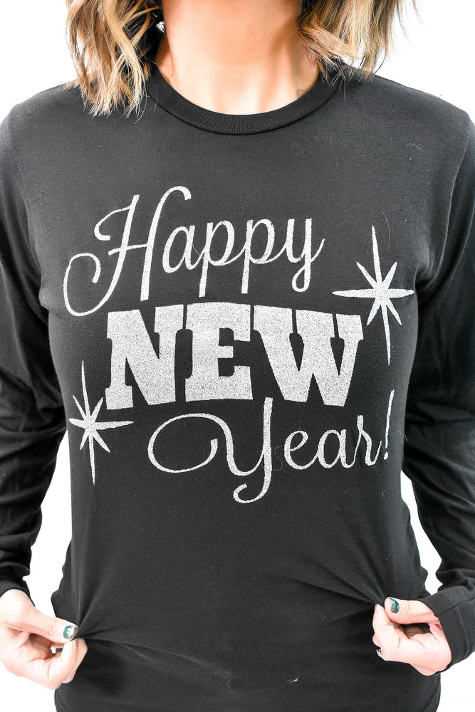 Happy New Year Black Long Sleeve Graphic Tee - A977BK