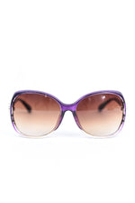 Purple/Clear Frame/Brown Ombre Lens Round Sunglasses - SGL280PU - FREE hard case