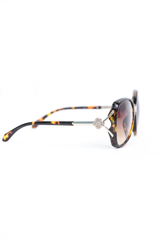 Brown Tortoise Shell Frame/Brown Ombre Lens Round Sunglasses - SGL278BR - FREE hard case
