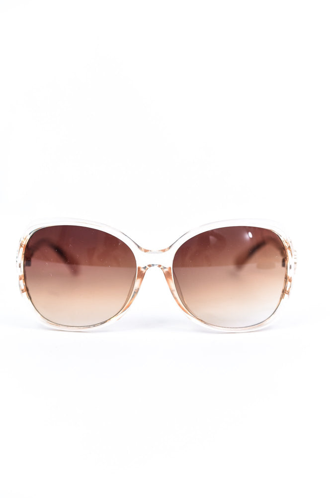 Light Pink Frame/Brown Ombre Lens Round Sunglasses - SGL277LPK - FREE hard case