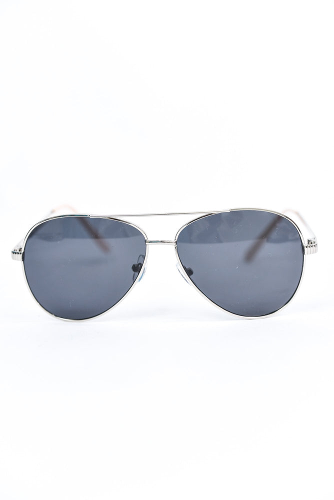 Silver Frame/Black Lens Aviator Sunglasses - SGL272SI - FREE hard case