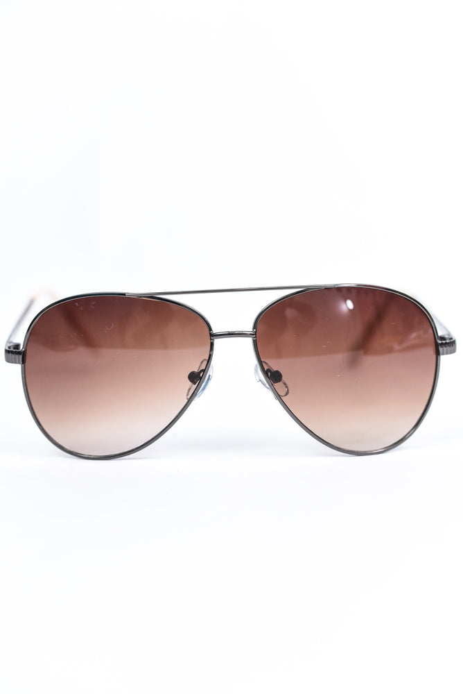 Black Frame/Brown Lens Aviator Sunglasses - SGL271BK - FREE hard case