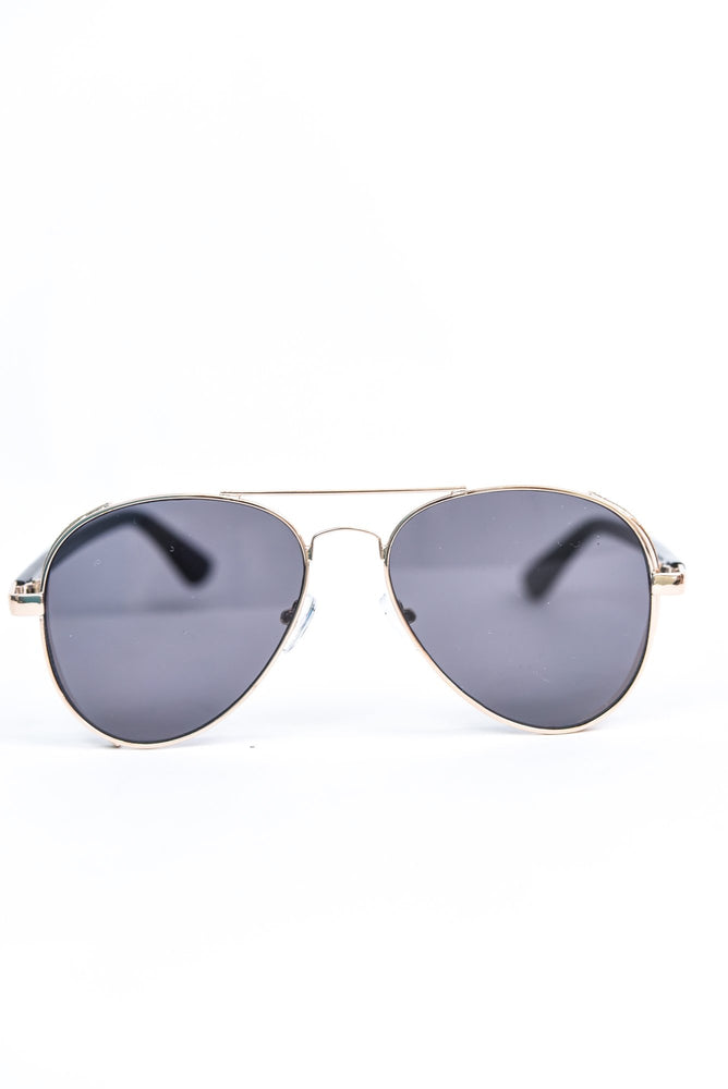 Gold Glitter Frame/Black Lens Aviator Sunglasses - SGL286GO - FREE hard case