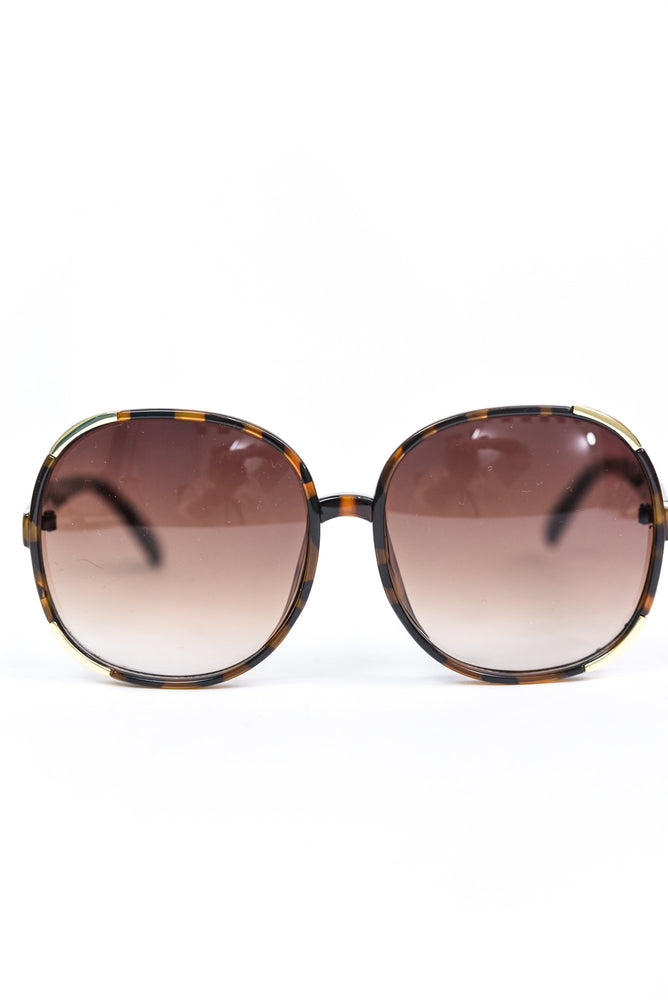 Brown Tortoise Shell Frame/Brown Ombre Lens Round Sunglasses - SGL284BR - FREE hard case