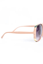 Light Pink Frame/Black Lens Round Sunglasses - SGL281LPK - FREE hard case