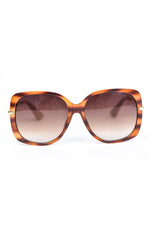 Caramel Tortoise Shell Frame/Brown Lens Oval Sunglasses - SGL291CA - FREE hard case