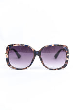 Blue Tortoise Shell Frame/Black Lens Oval Sunglasses - SGL290BL - FREE hard case