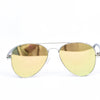 Silver Glitter Frame/Yellow Mirror Lens Aviator Sunglasses - SGL288YE - FREE hard case