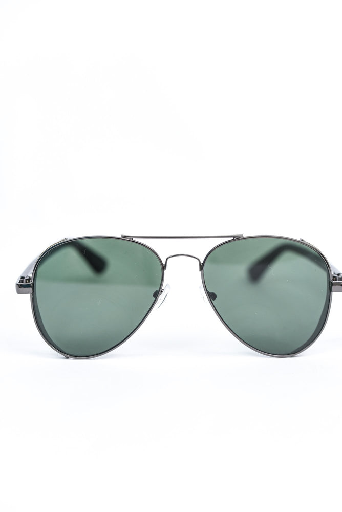 Gunmetal Glitter Frame/Dark Green Lens Aviator Sunglasses - SGL289GM - FREE hard case