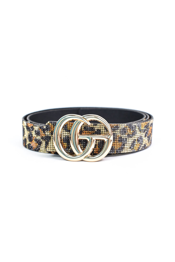Leopard Crystal Bling Regular Belt - BLT1134LE