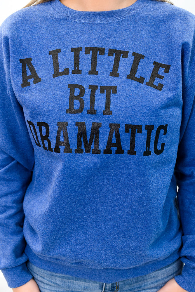 A Little Dramatic Vintage Heather Blue Graphic Sweatshirt - A983VHB