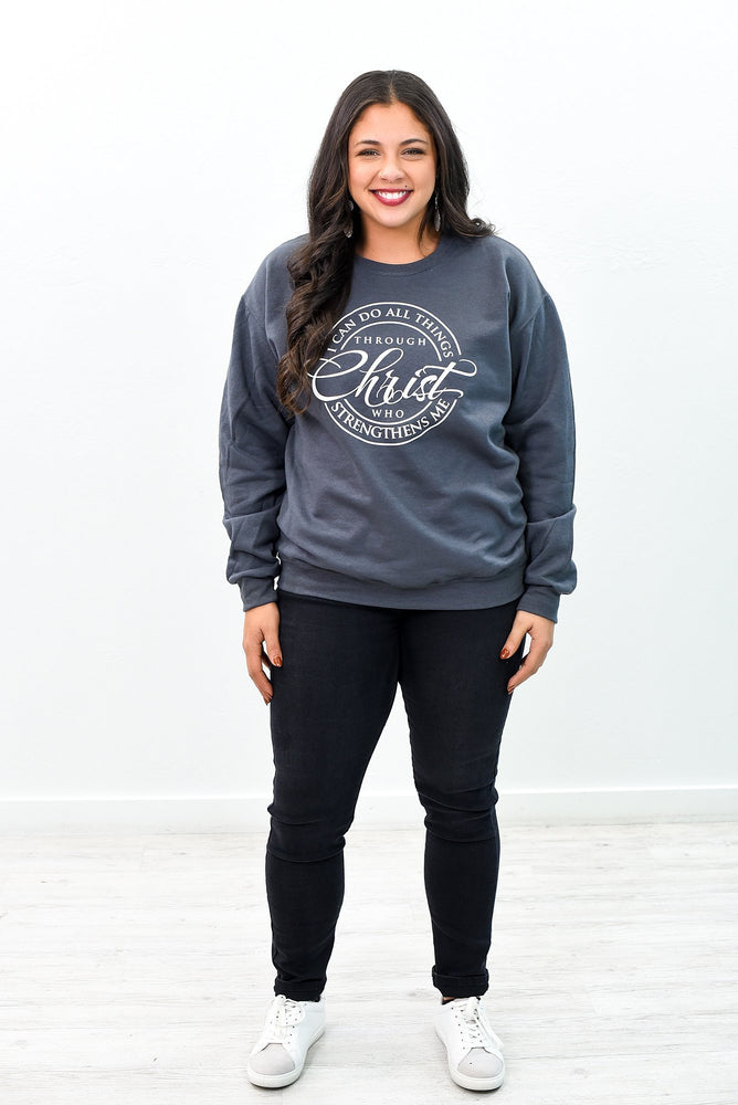 I Can Do All Things Charcoal Gray Graphic Sweatshirt - A979CG