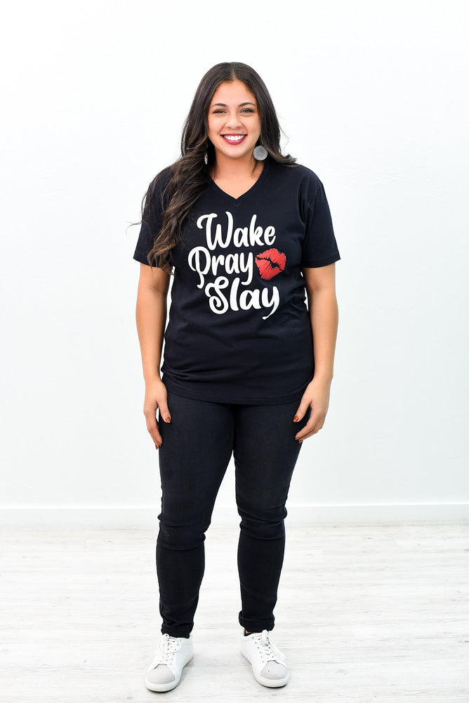 Wake Pray Slay Black V Neck Graphic Tee - A987BK