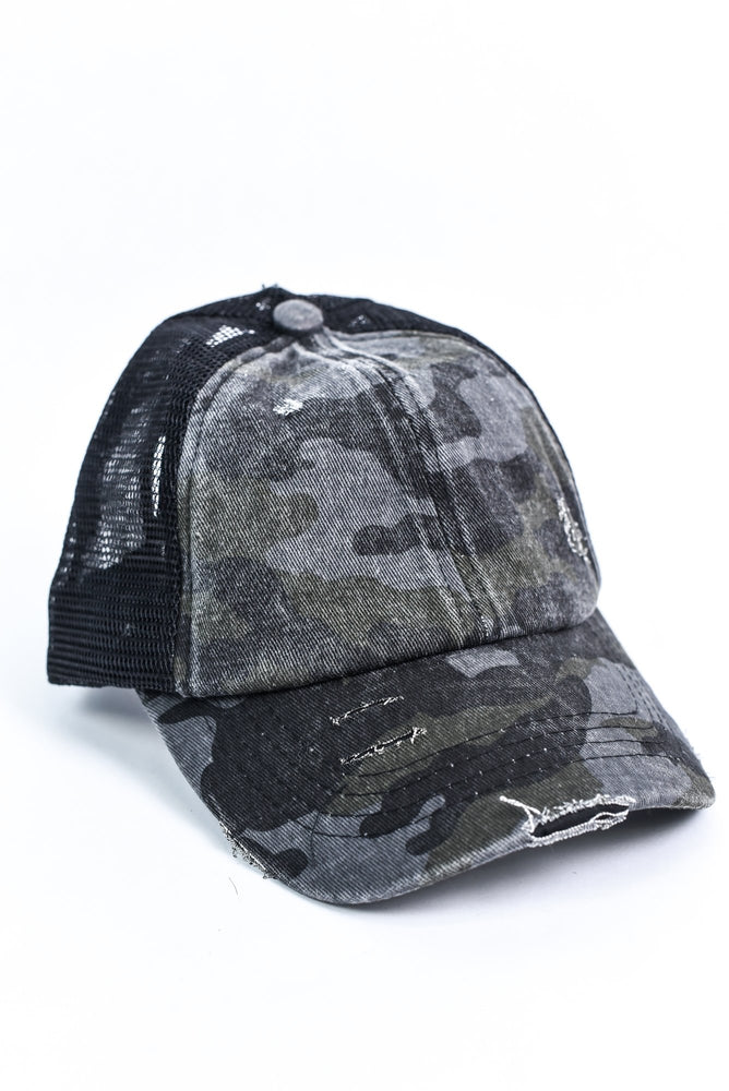 Black/Gray Camouflage Distressed Crisscross Hat - HAT1168BK