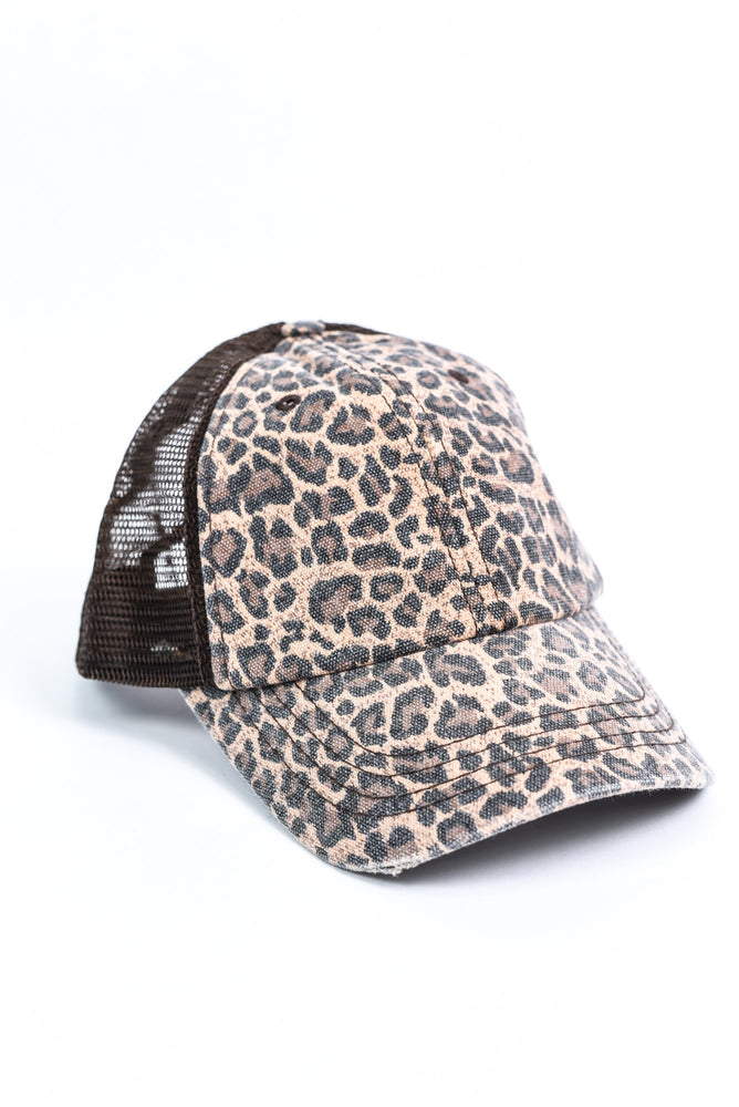 Brown Leopard Trucker Hat - HAT1159BR